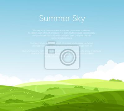 Papiers peints Illustration vectorielle de paysage de champs avec la belle aube, collines verdoyantes, ciel bleu de couleur vive avec la place pour votre texte, arrière-plan dans un style plat de bande dessinée.