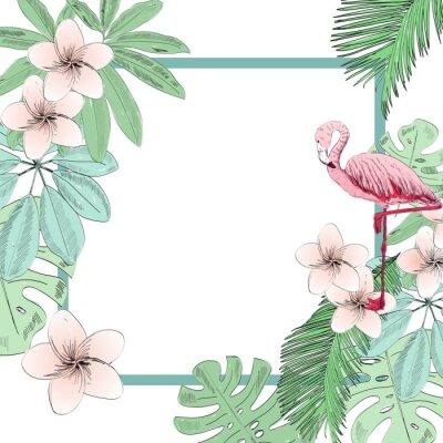 Papiers peints Illustration vectorielle tropicale avec flamant rose et fleurs.