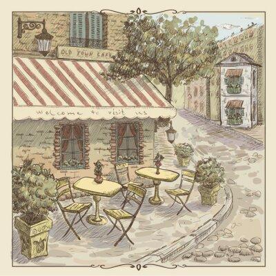 Papiers peints Illustration vintage d'aquarelle de café de la rue dans la vieille ville