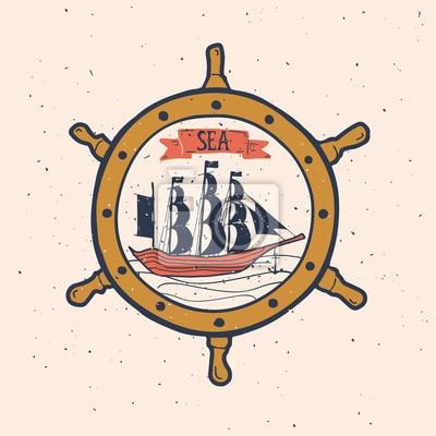 Illustration vintage tirée par la main avec un bateau. Cette illustration vectorielle peut être utilisée comme impression sur des T-shirts et des sacs.