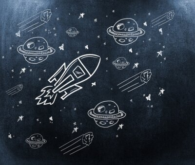 Papiers peints Image composite de la planète, des étoiles et de la fusée