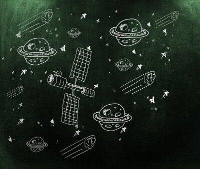 Papiers peints Image composite de la planète, des étoiles et du satellite
