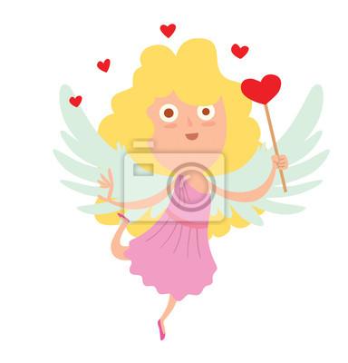 Image De Dessin Anime Dune Petite Fille Mignonne Cupidon Avec Papier