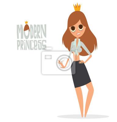 Papiers Peints Image De Dessin Animé De Vecteur Dune Fille Princesse Moderne