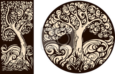 images décoratives de style graphique rétro avec l'arbre