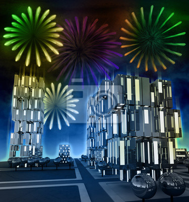 Impressionnant feu d'artifice dans la nuit sur le paysage urbain