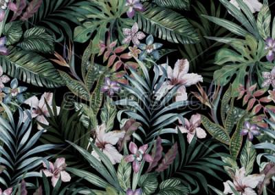 Papiers peints imprimé floral tropical. variété de fleurs de la jungle et des îles en bouquets dans un imprimé sombre et exotique. allover design, illustration aquarelle vintage réaliste.