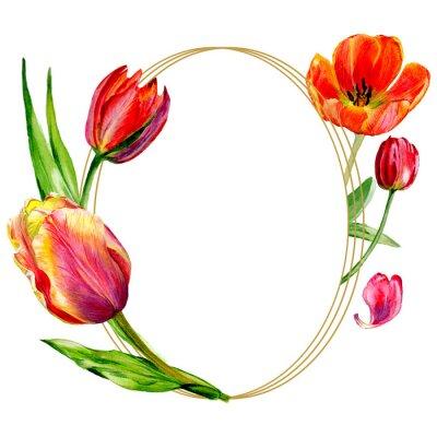Papiers peints Incroyable fleur de tulipe rouge avec feuille verte. Set d'illustration aquarelle. Ornement de bordure de cadre rond.