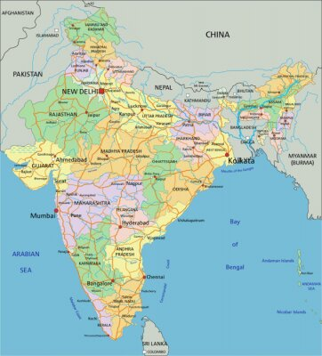 Papiers peints India - Highly detailed editable political map with labeling.