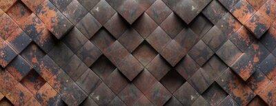 Papiers peints Industrial metal rusty background texture, Cube shape elements pattern. 3d illustration