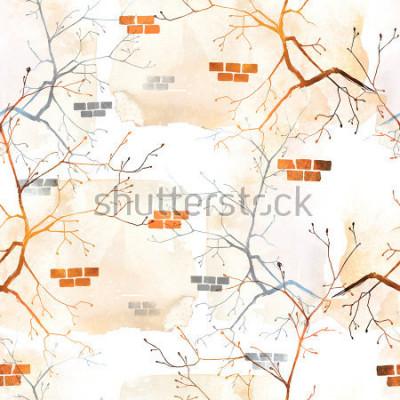 Papiers peints industrie du printemps arbre avec de jeunes bourgeons contre le vieux mur. motif de fond sans couture. Aquarelles abstraites et image numérique dessinée à la main. œuvres d'art mixtes pour textiles, t