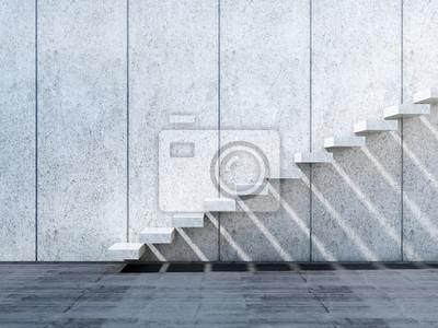 Installation descalier 3d en béton sur le mur de pierre papier peint ...