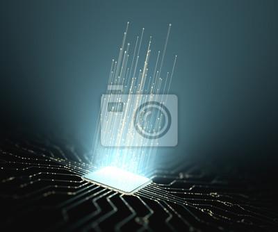 Papiers peints Intelligence artificielle. Connexions de micropuce, impulsions électriques et codes binaires.