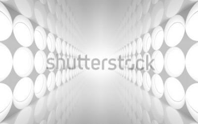 Papiers peints Intérieur 3d abstrait blanc avec motif de lumières décoratives rondes sur le mur