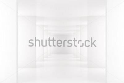 Papiers peints Intérieur blanc avec long couloir dans l'espace moderne 3D Render