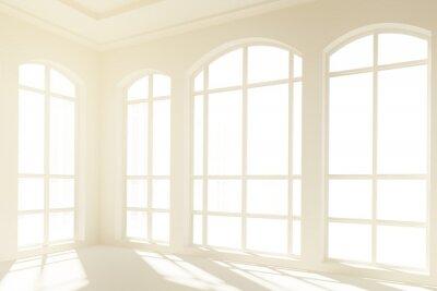 Papiers peints Intérieur blanc ensoleillé avec de grandes fenêtres