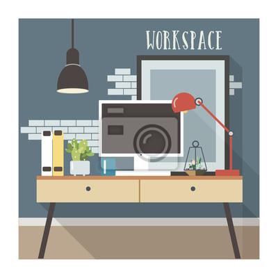 Interieur De Bureau Moderne En Style Loft Papier Peint Papiers