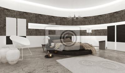 Papiers peints: Intérieur de chambre à coucher avec lit king-size noir