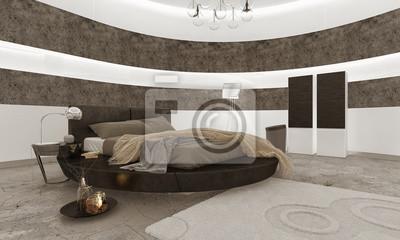 Superbe Papiers Peints Intérieur De Chambre à Coucher Avec Lit King Size Noir