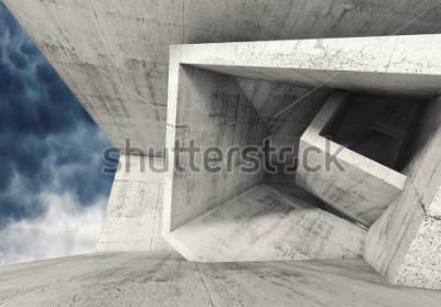 Papiers peints Intérieur de la salle de bain en béton avec structures cubiques et ciel nuageux à l'extérieur. Fond abstrait architecture, illustration 3d