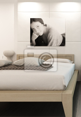 Intérieur de luxe de chambre à coucher blanc avec le portrait papier ...