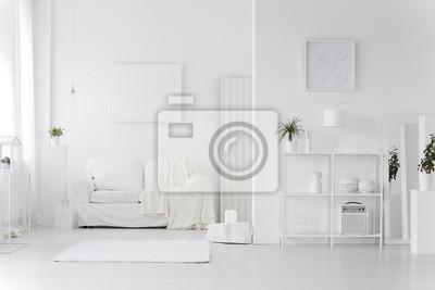 Intérieur de salon blanc papier peint • papiers peints canapé ...