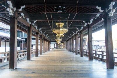 Papiers peints Intérieur du temple Shinto Nishi Hongan-Ji en bois à Kyoto - Honshu - Japon - Asie