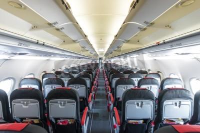 Papiers peints Intérieur moderne d'avions. Sièges noirs et rouges à l'intérieur avion. Symétrique rangée disparition de places à l'intérieur du transport aérien. Economique de vol. Équipement pour voyager. Vide plan