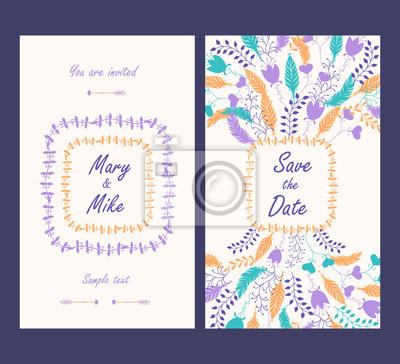 Invitation de mariage carte vintage avec des éléments décoratifs floraux et antiques. Illustration vectorielle