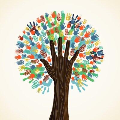 Papiers peints Isolés mains d'arbre de la diversité