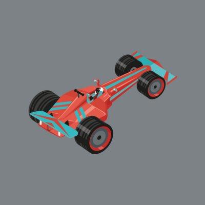 Papiers peints Isometric voiture de sport. Cartoon isolé vecteur auto pour la course. Automobile sport rouge avec un coureur à l'intérieur.