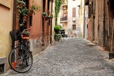 Papiers peints Italie, rue avec vélo et fleurs à Rome