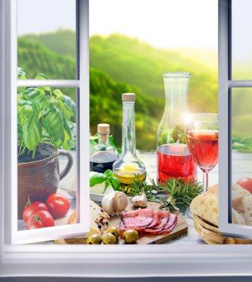 Papiers peints Italienische Küche - Vorspeisen (Antipasti) am Fenster
