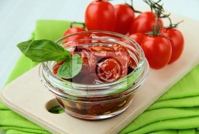 Italienne tomates séchées à l'huile d'olive, bocal en verre