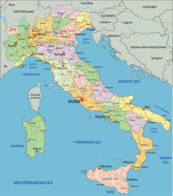 Papiers peints Italy - Highly detailed editable political map with separated layers.