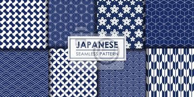Papiers peints Japanese seamless pattern collection, Decorative wallpaper.