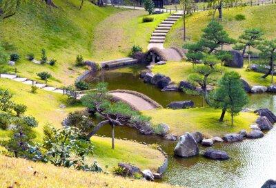 Papiers peints Jardin de rochers vallonné paysagé avec de petits ponts sur un ruisseau sinueux, des marches en montée, des pins