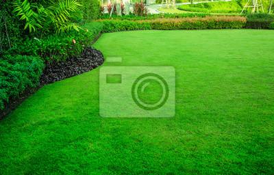 Papiers peints Jardin décoratif, pelouse verte, la pelouse avant pour le fond.