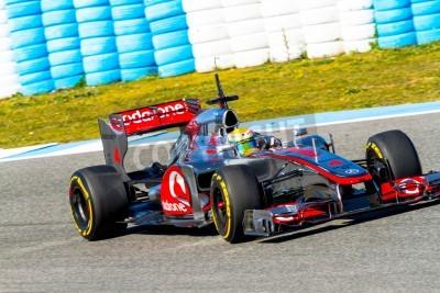 Papiers peints JEREZ DE LA FRONTERA, SPAIN - FEB 10: Lewis Hamilton of McLaren F1 races on training session on February 10 , 2012, in Jerez de la Frontera , Spain