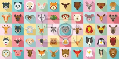 Papiers peints Jeu d'icônes d'animaux. Ensemble plat d'icônes vectorielles animaux pour la conception web