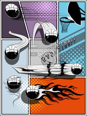 Jeu de basket - style bande dessinée