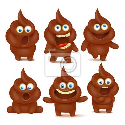 Jeu De Personnages Emoji Poop Cute Avec Des Emotions Differentes