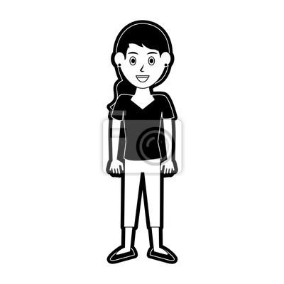 Jeune Femme Dessin Anime Icone Vector Illustration Graphisme Papier
