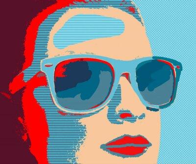 Papiers peints Jeune, femme, portret, lunettes soleil, pop-art, style