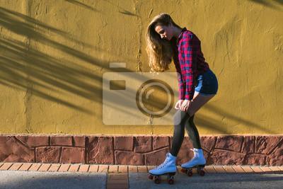 Papiers peints Jeune, femme, rouleau, patins