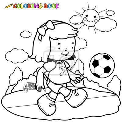 Coloriage Fille Foot.Jeune Fille De Football Pour Colorier La Page Papier Peint Papiers