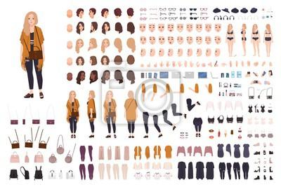 Papiers peints Jeune grosse femme curvy ou constructeur de taille plus fille ou kit de bricolage. Ensemble de parties du corps, expressions faciales, vêtements, accessoires. Personnage de dessin animé féminin. Avant