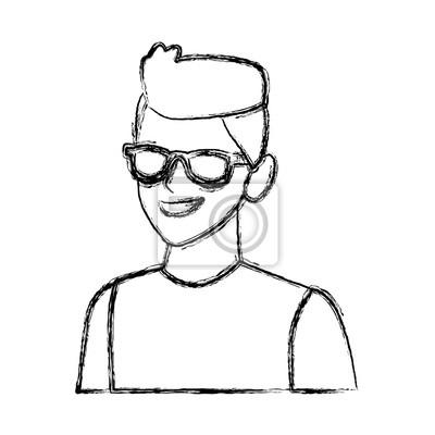Dessin Lunettes De Soleil jeune homme avec des lunettes de soleil dessin animé icône vector