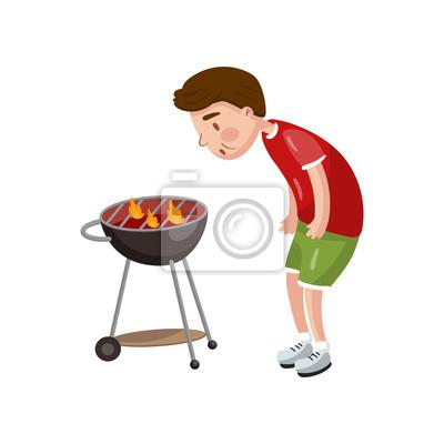 Dessin Barbecue jeune homme, cuisine, barbecue, pour, sien, amis, dessin animé