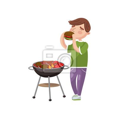 Jeune Homme Cuisine Et Manger Barbecue Dessin Anime Vecteur